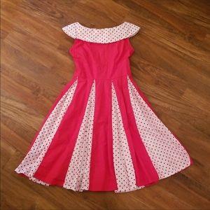 Red and white polka dot retro dress